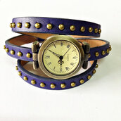 jewels,wrap watch,watch,studded,leather watch,vintage style,blue,freeforme,jewelry,accessories