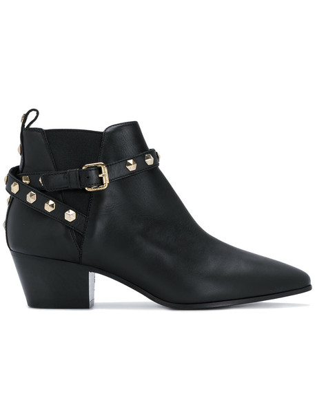 Twin-Set studded women ankle boots leather black shoes