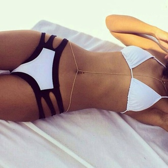 swimwear black and white bikini top and bottom jewels