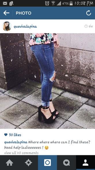 black heels peep toe heels platform shoes black platforms chunky heels