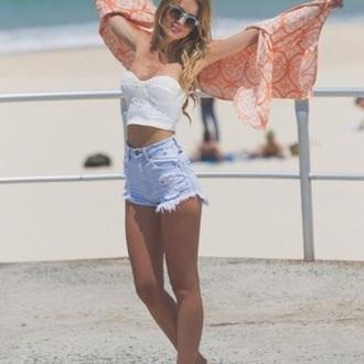 shorts denim high waisted style fashion clothes love beach