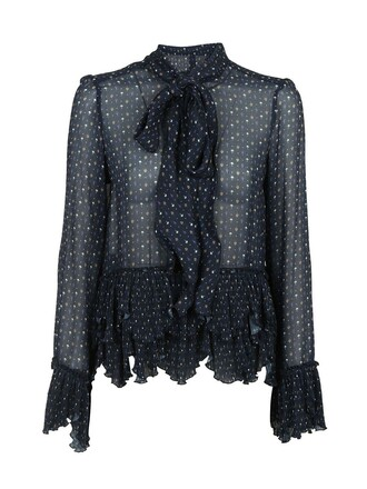 blouse embroidered navy top