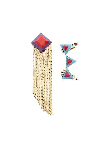 Fendi women geometric earrings blue jewels