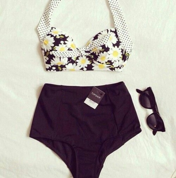 swimwear swimwear bikini vintage high waisted bikini high waisted high waisted high waist waisted daisy floral black beach summer cute pretty