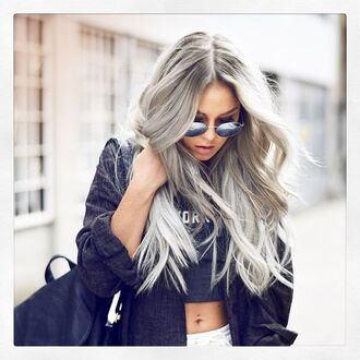 top silver hair long hair hairstyles crop tops black crop top black top jacket black jacket backpack black backpack angelica blick blogger sunglasses mirrored sunglasses