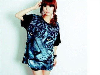 oversized t-shirt kfashion ulzzang oversized tiger print