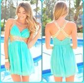 dress,light blue,gold sequins