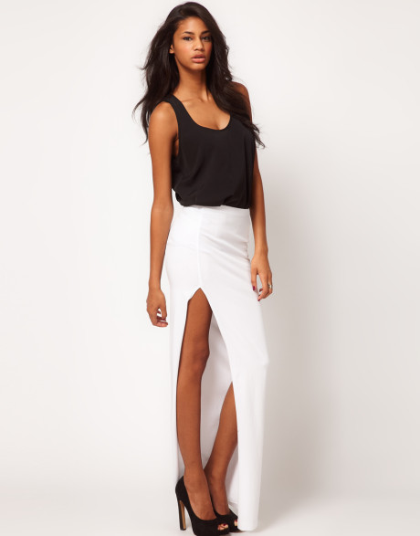 asos collection white asos maxi skirt with thigh high split