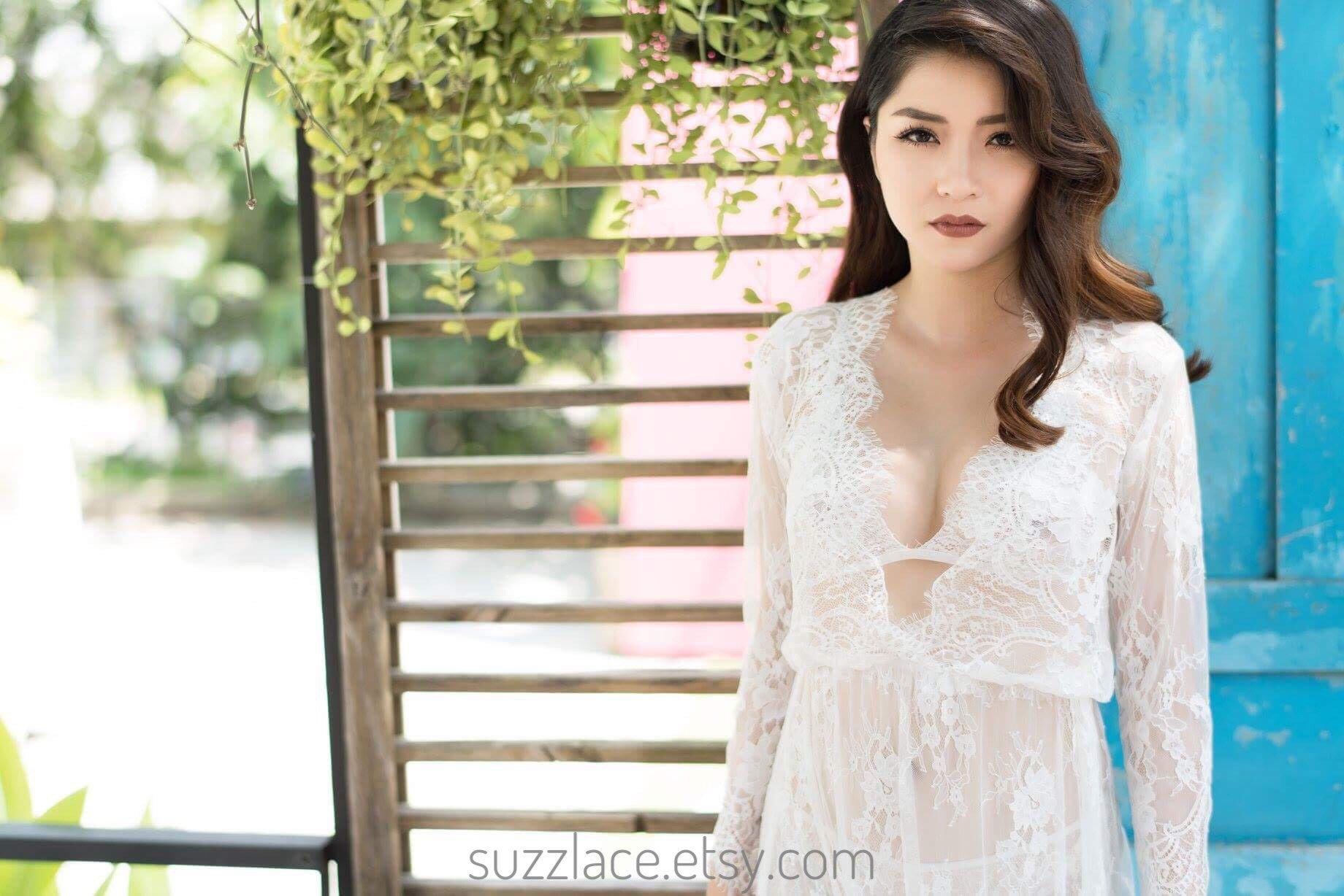 Lingerie Long Sleeve Lace Maternity Dress Photoshoot Prop