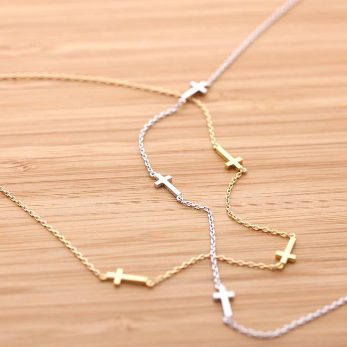 3ways tiny sideways cross necklace, 2 colors
