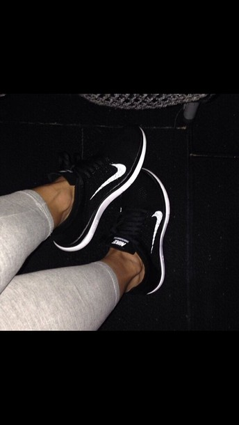 shoes black and white white swoosh glow in the dark