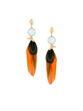 earrings feather earrings blue jewels