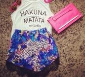 shorts,multicolor,blue,white,black,pink,bag,watch,mini bag,mini shorts,sexy,classy,summer outfits,sunglasses,hakuna matata bitch,crop tops,tank top