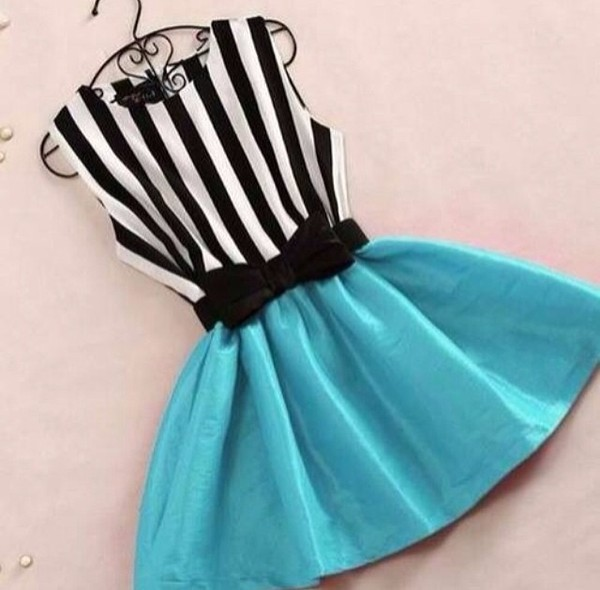 dress stripes blue black and white bow teal cute dress cute