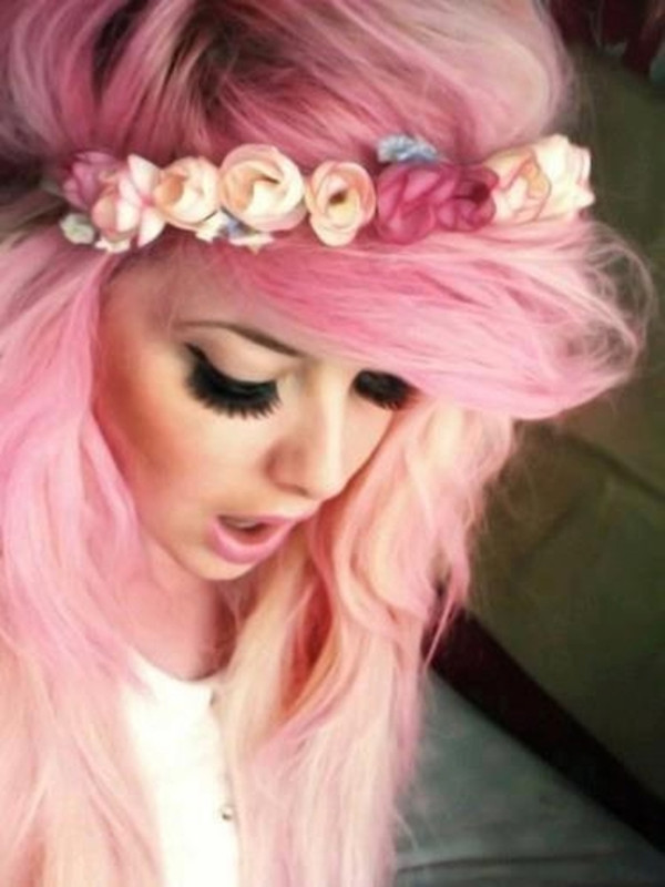 Hat Pink Pastel Pink Flowers Crown Hair Yellow