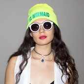 hat,beanie,nylon,nylonmag,neon,knit hat,necklace,white sunglasses,sunnies,girly,indie,grunge,soft grunge,pale,highlighter