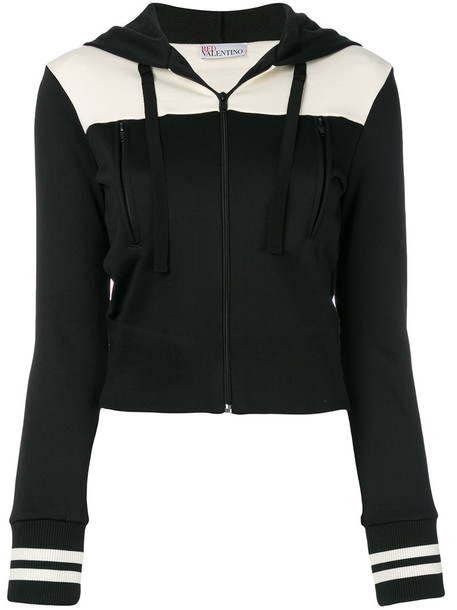 Red Valentino - two-tone hooded jacket - women - Cotton/Polyamide - S, Black, Cotton/Polyamide