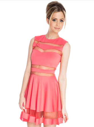 dress bqueen fashion girl sexy chic bodycon sleeveless pink party mesh