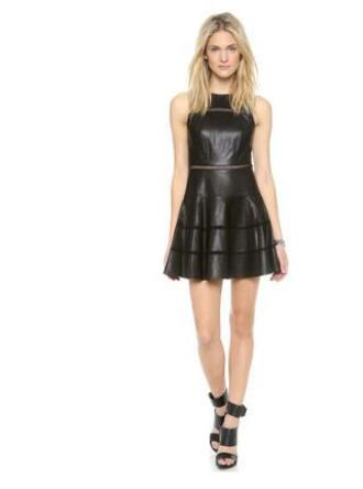dress leather dress pleated
