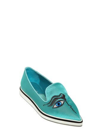 embroidered loafers silk turquoise shoes