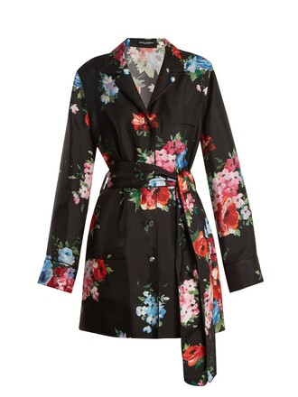 jacket floral print silk black