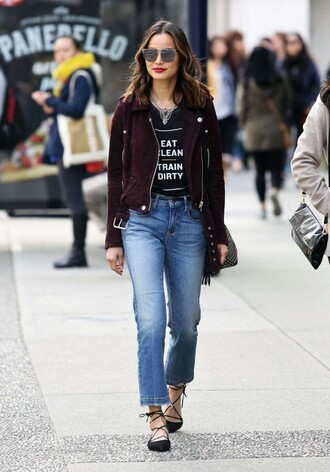 shoes flats ballet flats jamie chung blogger jacket jeans spring outfits