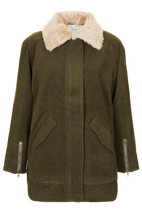 **Ingid Fur Collar Coat by Jovonna - Jackets & Coats  - Clothing  - Topshop