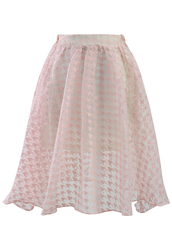 skirt,pink,houndstooth,organza,midi skirt