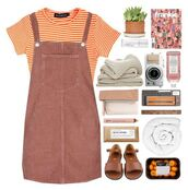 dress,shirt,stripes,fall outfits,orange,beige,succulent,sandals,camera,notebook,sweater,oranges,towel,striped top,lip gloss