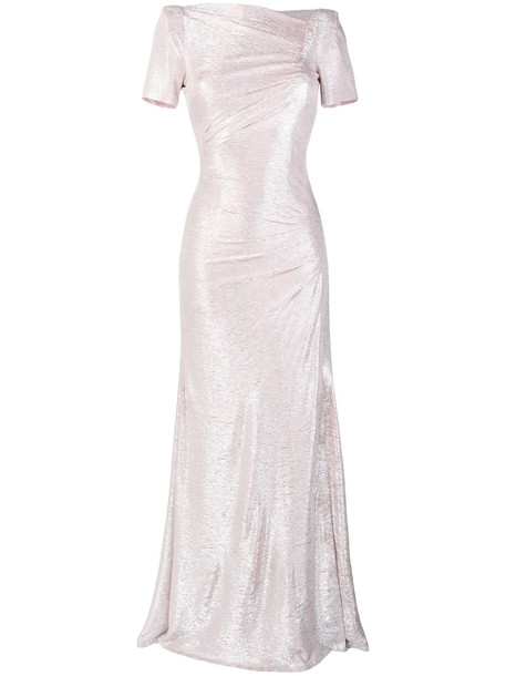 Talbot Runhof dress women spandex grey metallic