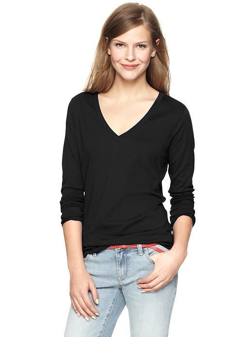 gap essential long sleeve v neck t - true black knit