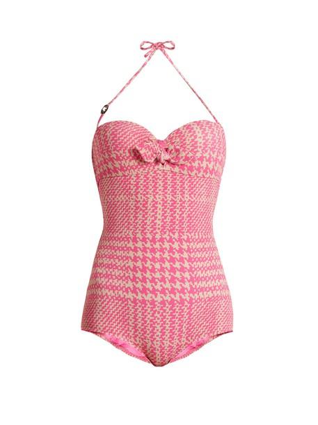 Fendi bandeau swimsuit print pink swimwear