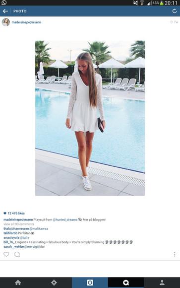white dress long sleeve dress v neck dress