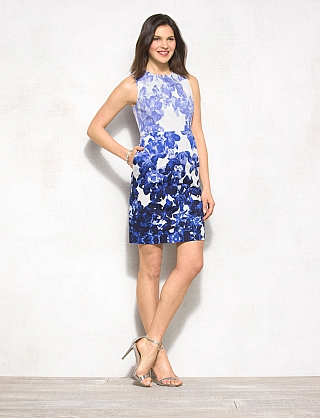 Luxe™ by Carmen Marc Valvo Ombre Floral Pocket Dress