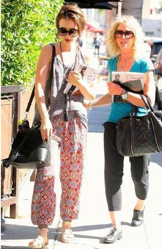 pants top lily collins tank top