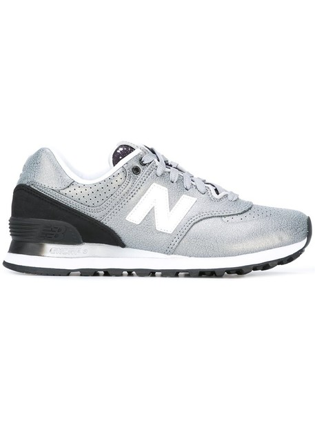 New Balance women sneakers leather grey metallic shoes