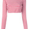 Dolce & gabbana - striped cropped top - women - cotton - 44, red, cotton
