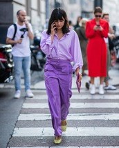 shoes,mules,crocodile,purple,wide-leg pants,shirt,clutch
