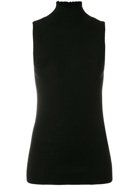 jumper turtleneck sleeveless women spandex black wool sweater