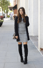seekingsunshine,blogger,dress,shoes,over the knee boots,fall outfits,grey dress,boots