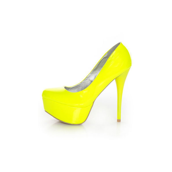 Qupid Parallel 09 Neon Yellow Platform Pumps - Polyvore