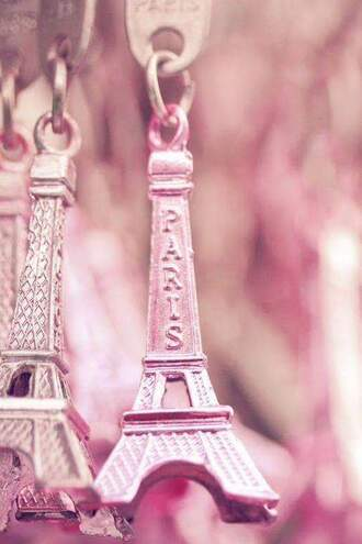 bag keychain paris romantic pink girly
