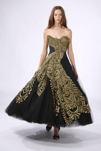 dress gold black gossip girl blair dress