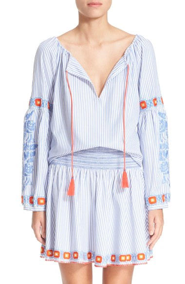 Tory Burch 'Madison' Embroidered Cotton Tunic | Nordstrom