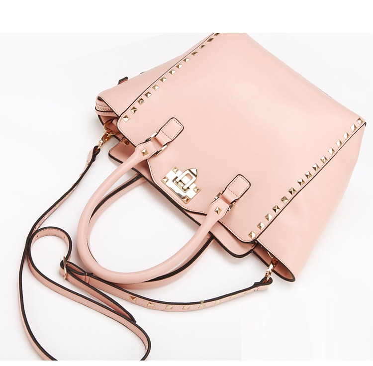 Stylish Rivet Details Handbag in Pink [FPB832] - PersunMall.com