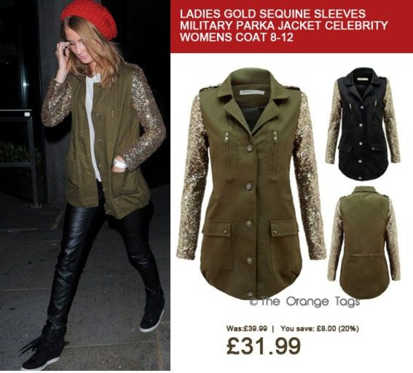 coat sequin sleeves parka sequin parka khaky black millie mackintosh celebrity buttoned jacket gold sequins