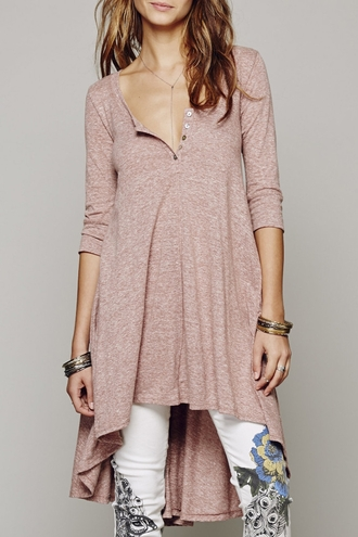 top sweater pink fall outfits asymmetrical long sleeves cute casual