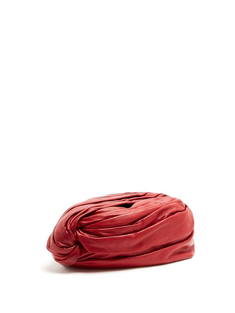 GUCCI Twisted-front leather turban hat in red