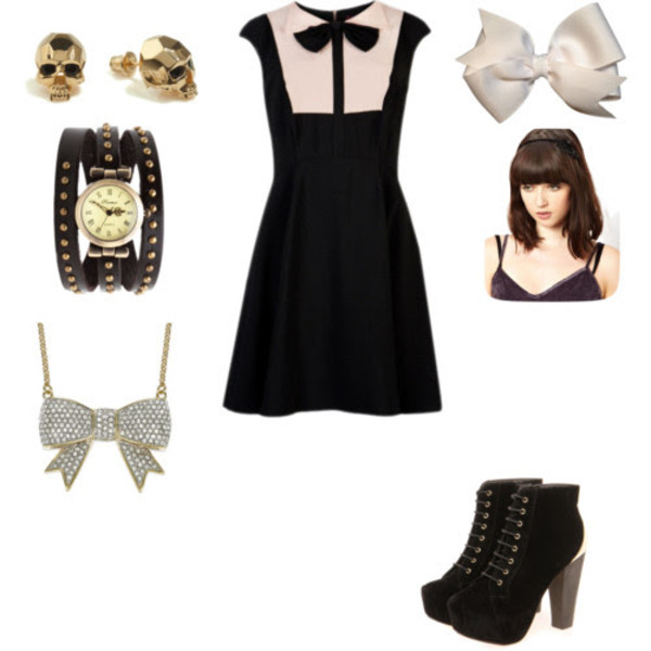 dress gold skull earrings watch white hair bow bow necklace wedge boots bow collar dress