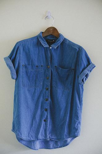 blue jeans high beautiful denim shirt short sleeve collar boyfriend tshirt button down shirt front pockets